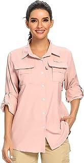 Women's UPF 50+ UV Sun Protection Safari Shirt, Long Sleeve Outdoor Cool Quick Dry Fishing Hiking Gardening Shirts