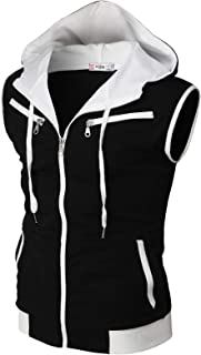 Mens Casual Slim Fit Zip-up Hoodie Vest Lightweight Sleeveless Hooded