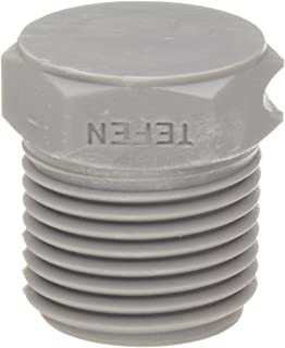 Tefen Nylon 6/6 Pipe Fitting, Hex Plug, Gray, 1/4