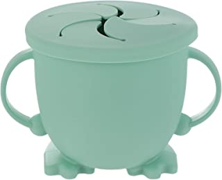 TOYANDONA Baby Snack Cup Snack Catcher Green Collapsible Silicone Snack Container Leak Proof Toddler and Baby Snack Catche...