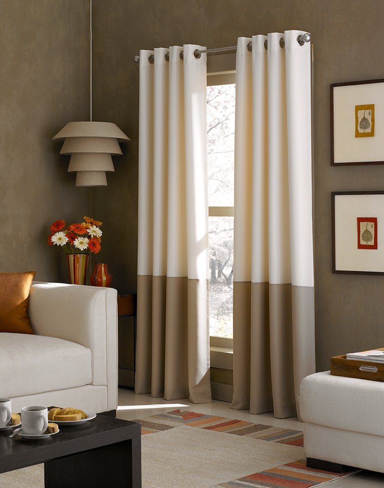 Amazon Com Curtainworks Kendall Color Block Grommet Curtain Panel 108 Inch Ivory Home Kitchen