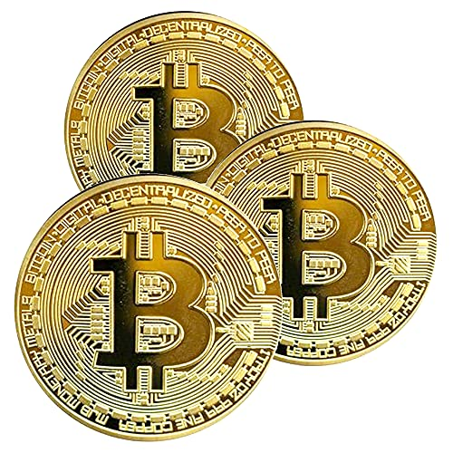 Krisler 3 STÜCKE Physische Bitcoin Medaille mit 24-Karat Echt-Gold überzogen.Virtuelle Währung Münze Collectibles Geschenk BTC Münze Kunst Sammlung Physikalische (Golden)