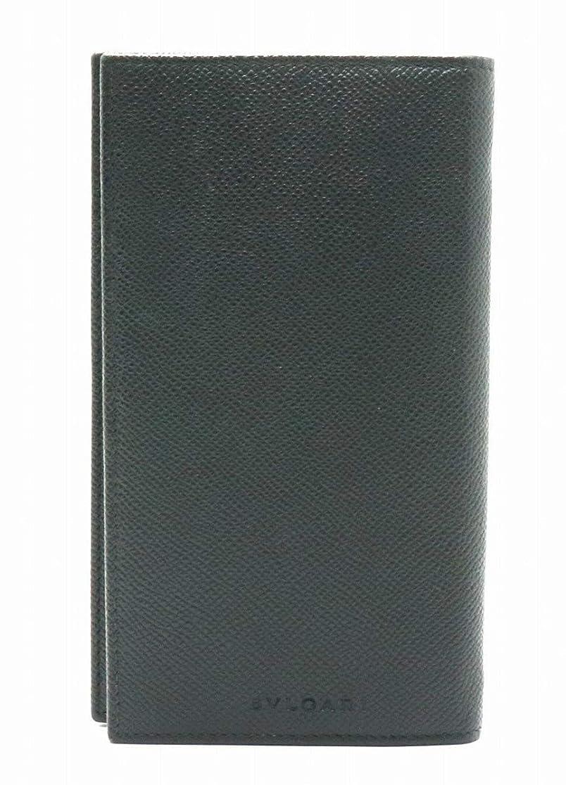 私たちの背景魔女[ブルガリ] BVLGARI ロゴ レザー 型押しレザー 2つ折長財布 ブラック 黒 25752 [中古]