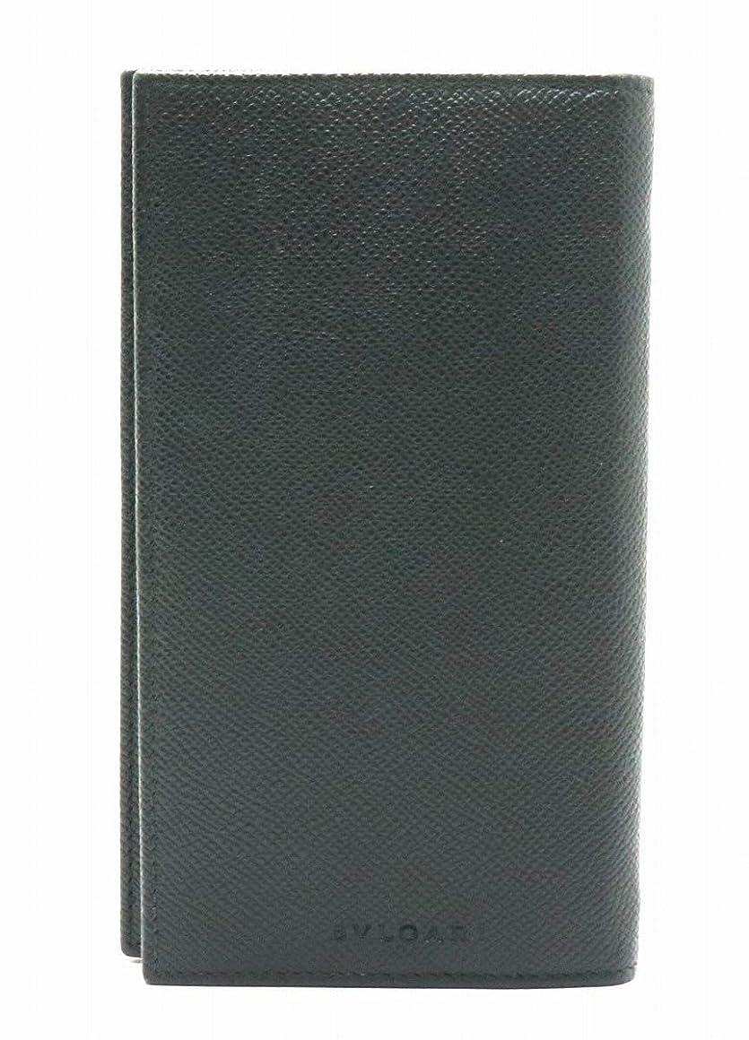 手を差し伸べるストリップ件名[ブルガリ] BVLGARI ロゴ レザー 型押しレザー 2つ折長財布 ブラック 黒 25752 [中古]