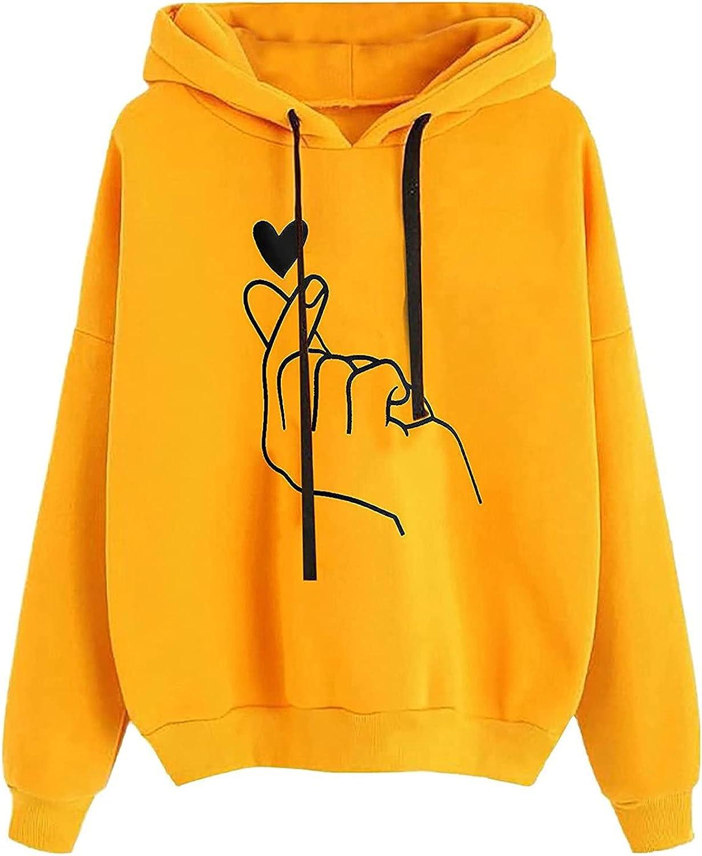 HIRIRI Loose Hoodies Louisville-Jefferson County Mall for Women Print Long Minneapolis Mall Sleeve Heart Pullover