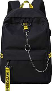 Fashion Backpack with USB Charging Port for Travel Lightweight School Bookbags with Cool Letters Strap for Teenage Boys & Kids (Black+Yellow)