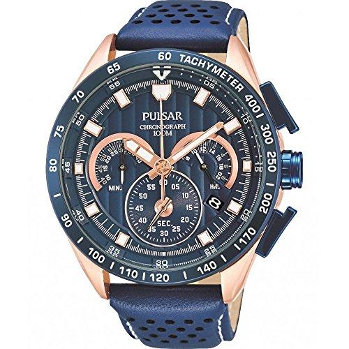 Pulsar Rally Herren-Uhr Chronograph Edelstahl mit Lederband PU2082X1