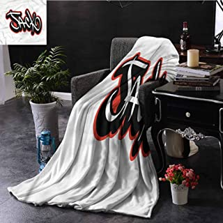 SSKJTC Jack Turquoise Throw Blanket Double-Sided Printing Graffiti Font Male Name Bedroom Dorm Sofa Baby Cot Beach W70 xL84
