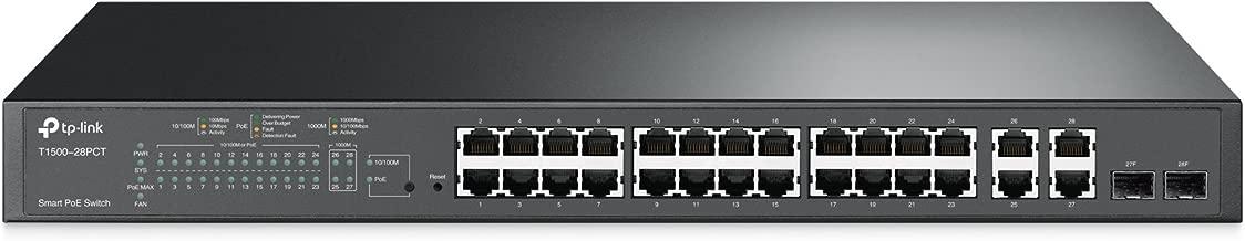 TP-Link 24 Port PoE Switch | Smart Managed | 24 Port 10/100Mbps + 4 Port Gigabit Uplink + 2 SFP | 802.3at/af Compliant, 192W | L2 Features | L2/L3/L4 QoS | IGMP Snooping | 802.1Q VLAN (T1500-28PCT)