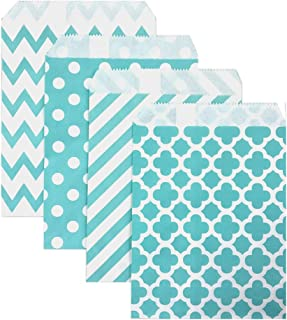 KEYYOOMY 100 Pcs Candy Buffet Bags Small Paper Treat Bags (Teal Blue, 5 inch X 7 inch)