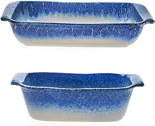 """Libbey Artisan 9"""" x 13"""" Glazed Ceramic Stoneware Baker Dish Bundled with Loaf Baking Dish, Blue and Cream"""