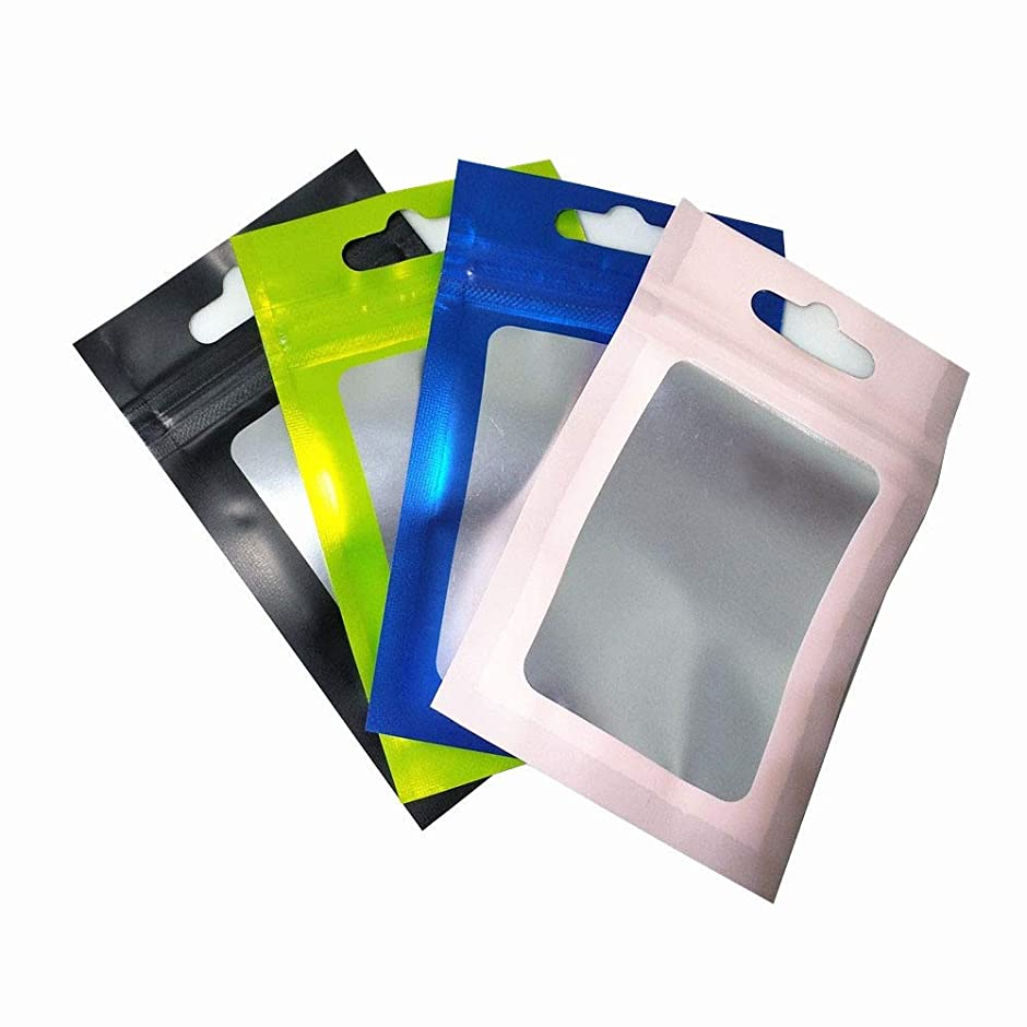 アスペクト雪豪華なラベル用紙 7.5x12cm透明な窓アルミ箔は、ロックパッケージバッグ電子付属品保存袋ジュエリーマイラー箔バッグハングホールの100pcsジップ 耐久性 (Color : 7.5x12cm, Size : Matte Blue)