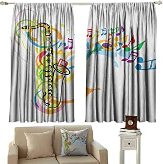 GUUVOR Music Heat Insulation Curtain Colored Illustration of Saxophone with Wavy Notes in Air Fun Vibes Retro Boho Chic for Living Room or Bedroom W52 x L36 Inch Multicolor