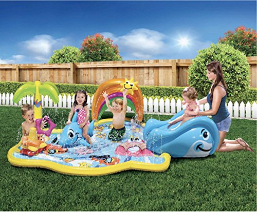 Banzai Splish Splash, Durable, Fun, Colorful, Safe, Animal Themed, Inflatable Kiddie Pool Safari Park Pool with Canopy by Banzai