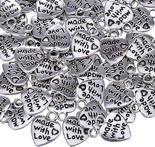 100 x MADE WITH LOVE Tibetan Silver Heart Charm Pendants - Antique Silver Jewellery Making Beading Crafting Findings Chloe and Tom