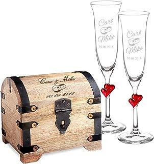 Casa Vivente Set Cofre de Madera Clara y 2 Copas de Champagne Juego Personalizado con 2 Nombres y Fecha Motivo Anillos