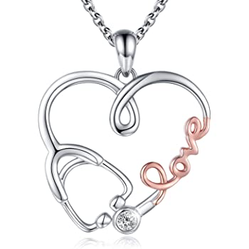 Jewels Obsession Registered Nurse Necklace 14K Rose Gold-plated 925 Silver Caduceus Pendant with 16 Necklace
