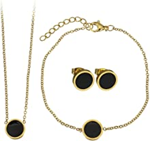 Lady Bling Bling Damen Schmuck-Set Halskette mit Anhänger, Armband und Ohrringe aus Edelstahl mit Emaille Kreis Rund inkl. Etui