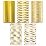 125 pezzi cannucce di carta dorata cannucce per feste biodegradabili lamina d'oro puro a strisce dorate motivo a punti del cuore cannucce riciclabili cannucce artigianali di carta per feste 6x197mm