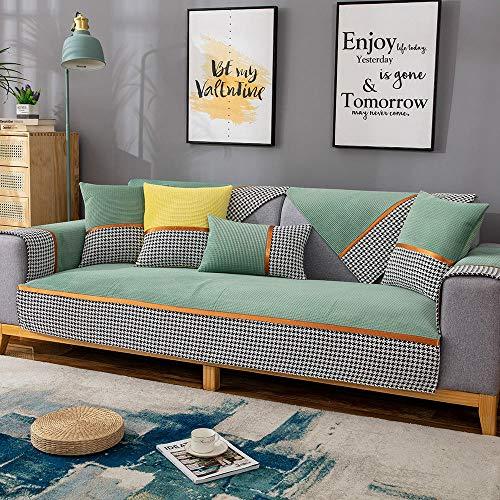 Couch Auflage Sofa schonbezug sofabezug Decken für Couch,L-förmiger Stoff Schnittsofaschild,Ecksofabezüge für Ledercouch,hocheffiziente rutschfeste Sofasitzbezüge-Grün_110 * 240 cm