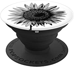 Black and White Sunflower Pop Socket Sunflower Lovers Gift - PopSockets Grip and Stand for Phones and Tablets