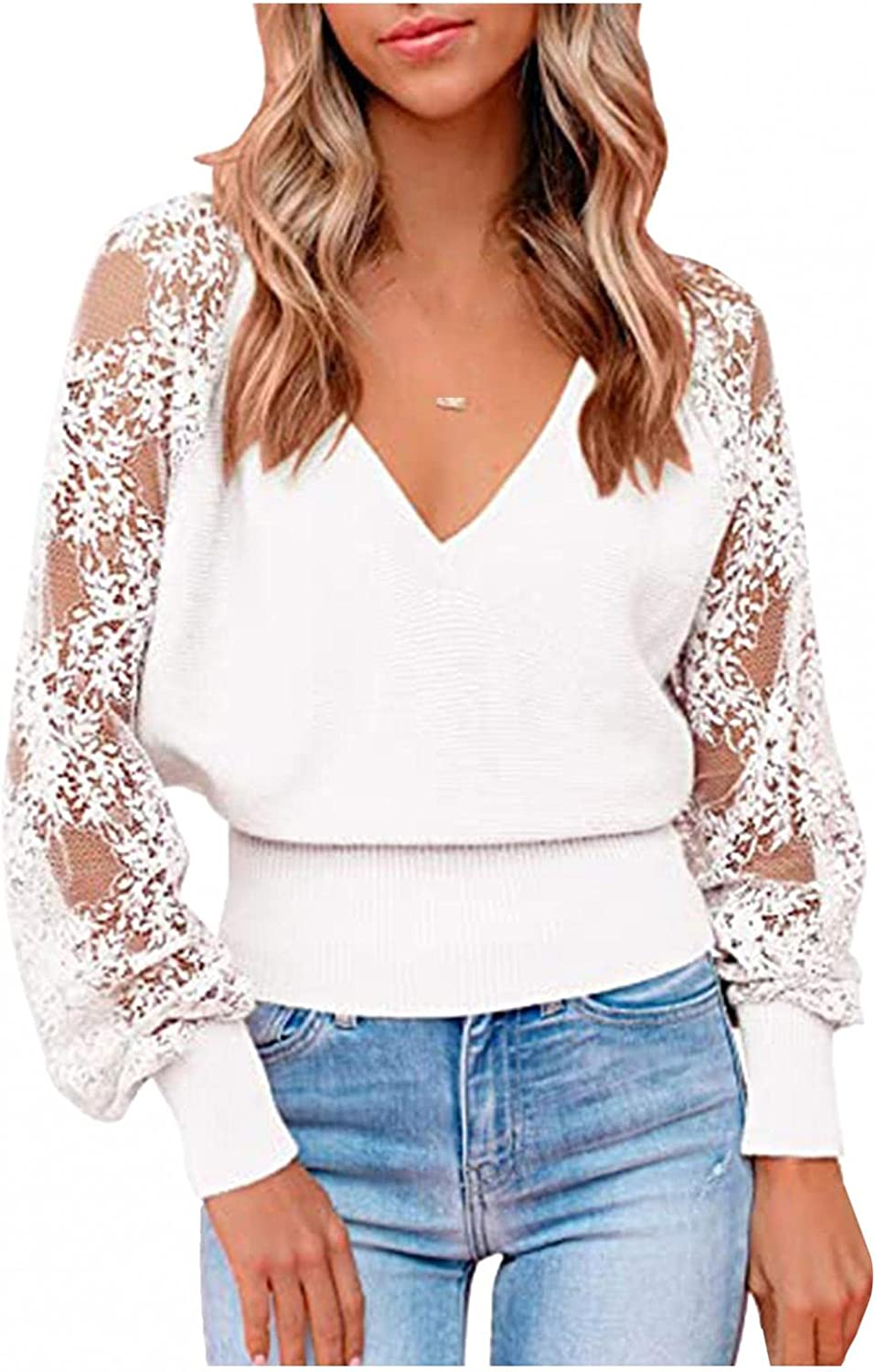 Women's Long Sleeve V Neck Lace Patchwork Backless Comfy Winter Knit Pullover Sweater Jumper Tops
