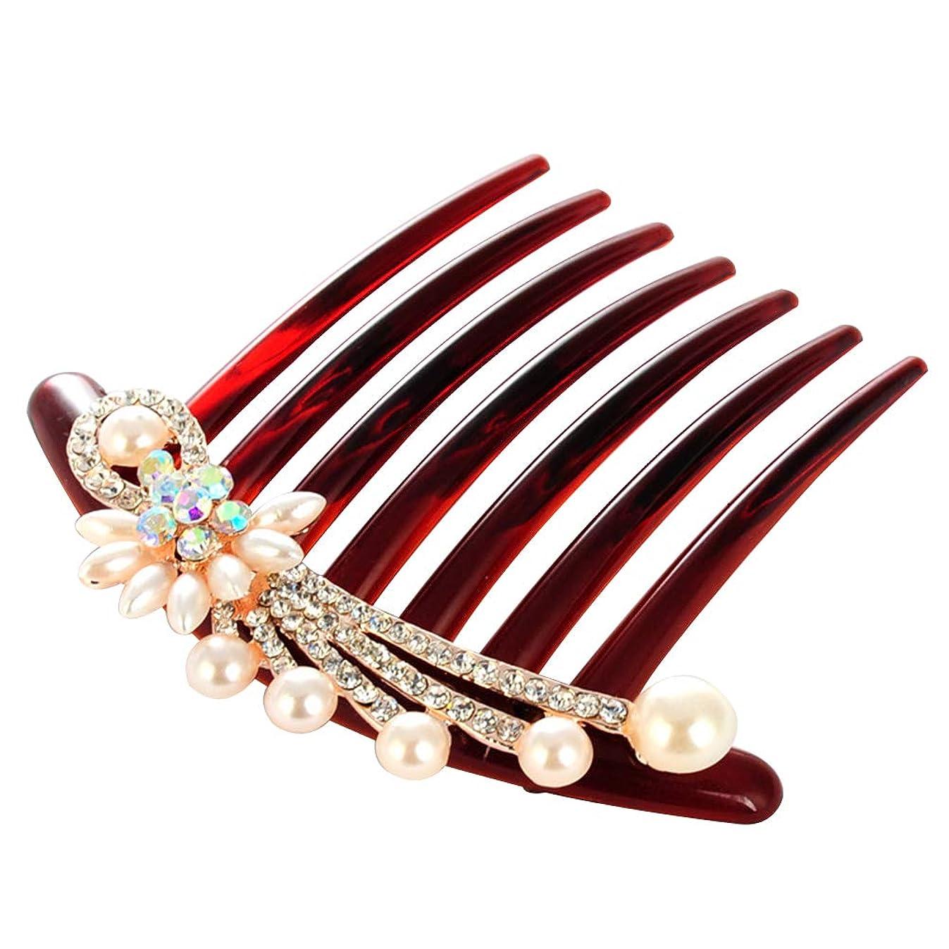 強い王族拍手するLURROSE 模造真珠の髪の櫛のクリスタルヘッドドレス繊細なラインストーンの花嫁のヘアアクセサリー(花)