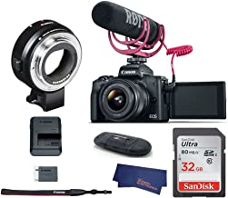 Canon EOS M50 Mirrorless Digital Camera with 15-45mm Lens Video Creator Kit (Black) (USA Warranty) + Canon EOS M Mount Adapter for Canon EF/EF-S Lenses - 6098B002