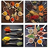 IXMAH Kitchen Pictures Wall Decor 4 Pieces Couful Spice In Spoon Vintage Canvas Wall Art Food Photos Painting on Canvas Home Decoration Gift No Frame (spices,12x12inch*4Pcs Unframed)