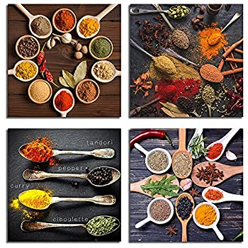 IXMAH Kitchen Pictures Wall Decor 4 Pieces Couful Spice In Spoon Vintage Canvas Wall Art Food Photos Painting on Canvas Home Decoration Gift  spices,12x12inch*4Pcs Unframed