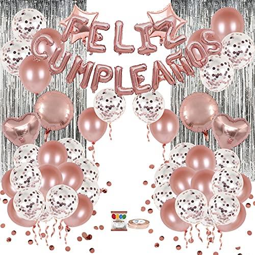Set de decoración 80 piezas ORO ROSA, con pancarta de letras inflables FELIZ CUMPLEAÑOS en español, globos de latex rellenos de confeti, estrellas y corazones, cinta para globos, y adhesivo