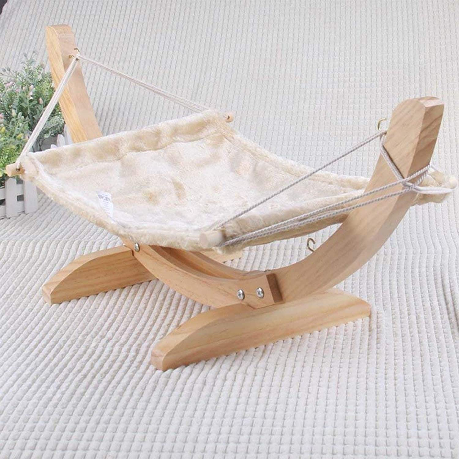 Pet Hammock Cat Bed Wooden Hammock Hanging Cat Cradle Cat Sofa Pet Furniture Sleeping Bag Removable and Washable