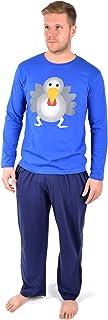 Tom Franks Mens Novelty Christmas Xmas Pyjama Night Wear Set New - Blue with Turkey, Medium