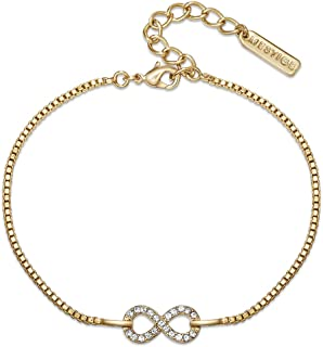 Mestige Women Glass Golden Timeless Bracelet with Swarovski Crystals