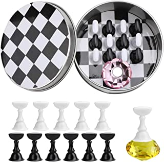 JMEOWIO Nail Art Tips Holder Practice Display Stand - Magnetic Stuck Crystal Nail Art Holder, Chessboard Nail Art Display ...