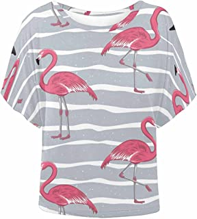 Women Batwing Sleeve Tunic Tops Round Neck Loose Blouses Flamingos