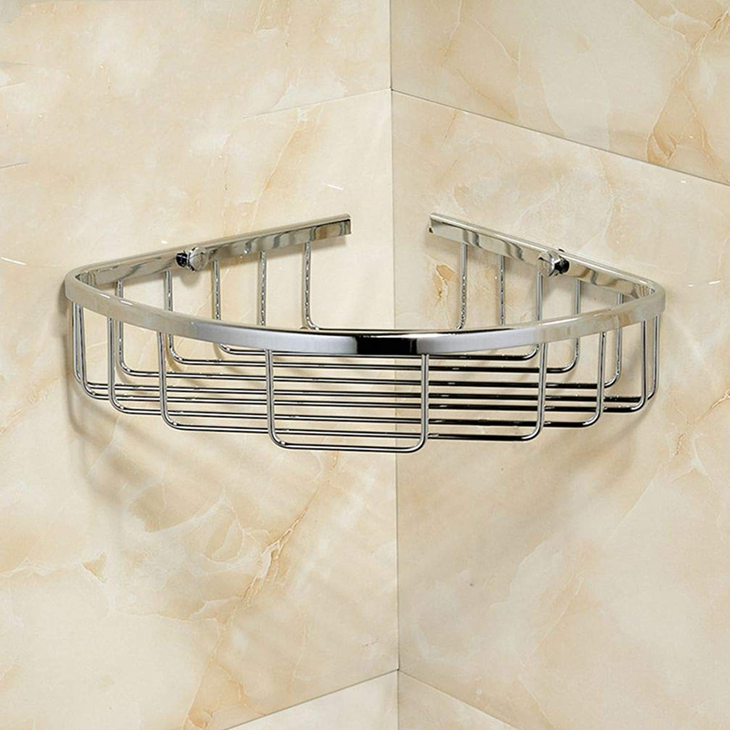 LUDSUY All Copper Chrome Bathroom Minimalist Bathroom Toilet Basket Monolayer Triangular Corner Shelf Wall Shelf