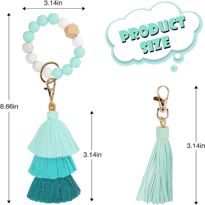 Key Chain Bracelets,Bead Keychain Key Wristlet for Women,Portable House Car Keys Ring Holder with Tassel