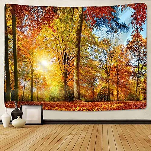 KHKJ Árboles de Arce en otoño tapices Arte Pared Alfombra decoración del hogar Boho Hippie Tapiz decoración del hogar A5 200x180cm