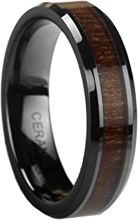Black Ceramic Ring with KOA Wood Inlay by Ceramic GESTALT - 6mm. Comfort Fit.