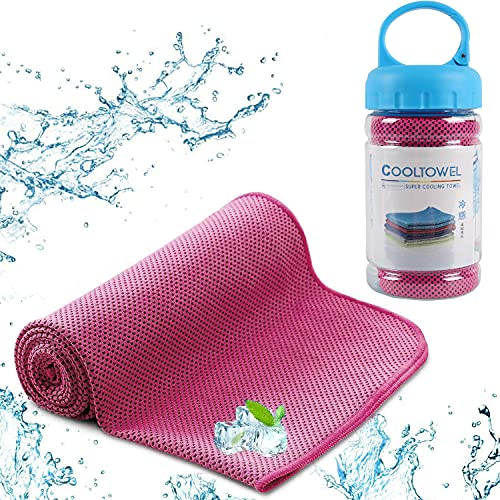 EasyULT Kühlendes Handtuch, Mikrofaser Handtücher Kompakt, Ultra Leicht & Schnelltrocknend, Kühlhandtuch, Sporthandtuch, Strandhandtuch und Reisehandtuch für Laufen, Trekking, Reise, Yoga(Rosa)