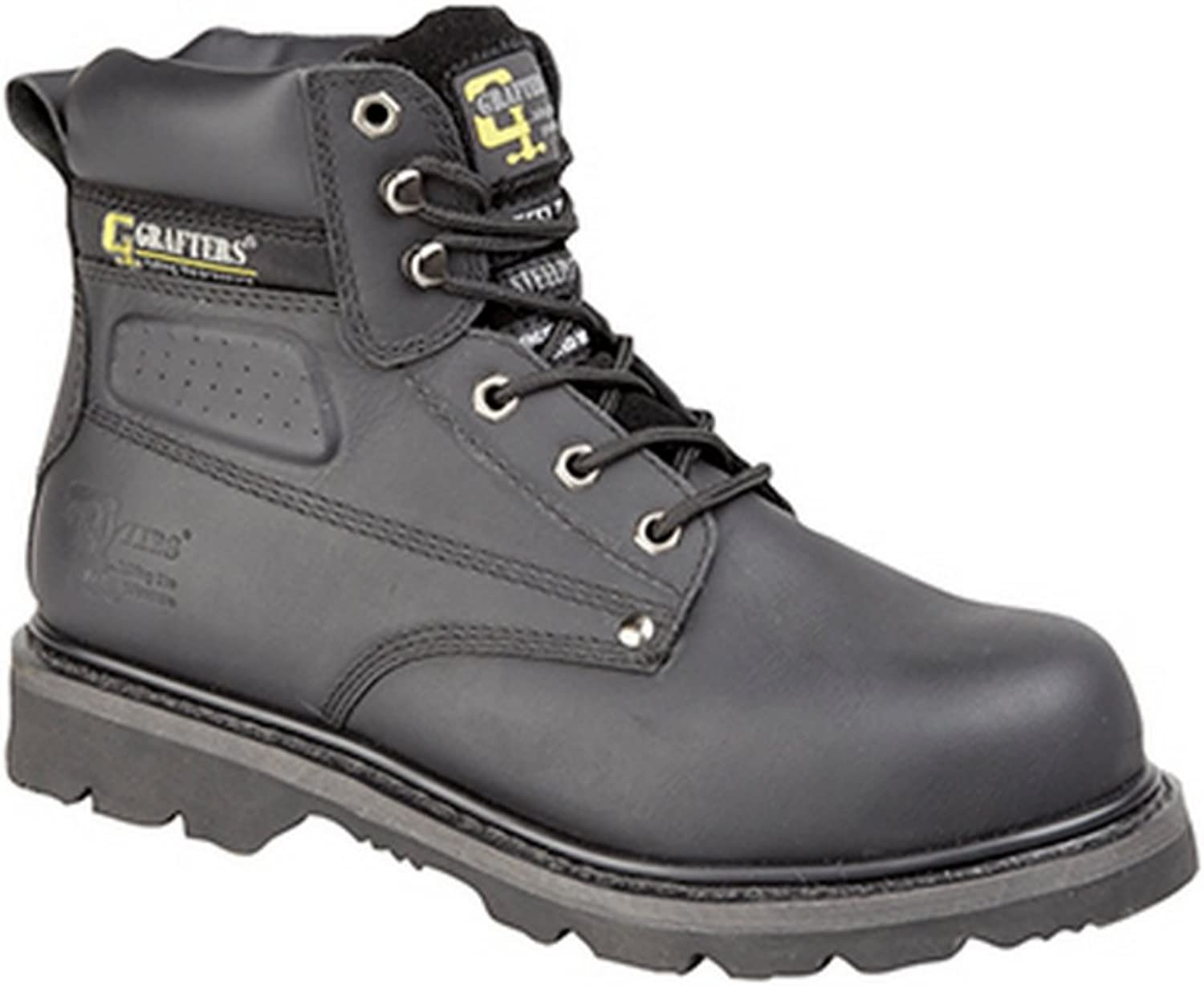 Grafters Black Leather Gladiator Safety Boots