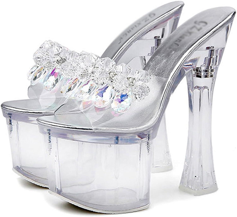Women Crystal Flip Flop Sandals Transparent Shiny High Heel shoes Peep Toe Stilettos Ladies Fashion Pumps Ankle Strap Heel Wedding Party 18Cm
