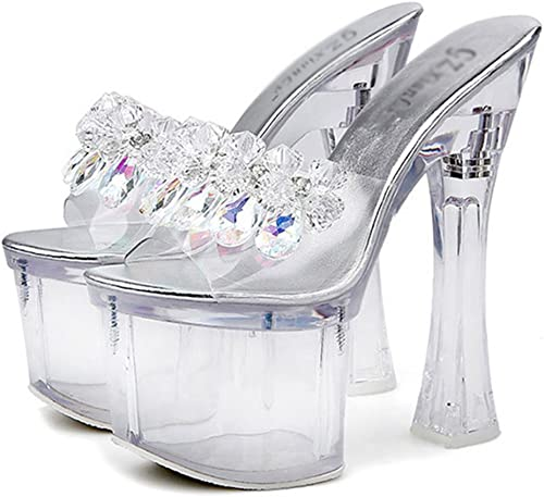 Kitzen Femmes Cristal Flip Flip Flop Sandales Transparent Brillant à Talons Hauts Chaussures Peep Toe Stilettos Les Les dames De Mode Pompes Cheville Talon Talon De Mariage 18 Cm  remise