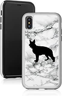 Marble Shockproof Impact Hard Soft Case Cover for Apple iPhone German Shepherd (Black, for Apple iPhone 7 / iPhone 8)