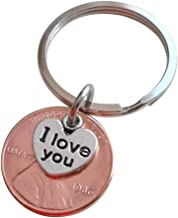I Love You Heart Charm Layered Over 1986 Penny Keychain, 33 year Anniversary Gift, Couples Keychain