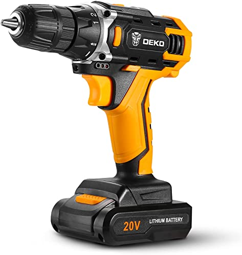 """discount DEKO Cordless Drill, 20V Max Lithium-Ion Drill Driver Kit with 2-Speed, 3/8"""" Keyless Chuck, 18+1 Torque Setting, Built-in LED for new arrival Drilling wholesale Wood, Plastic, Metal online sale"""