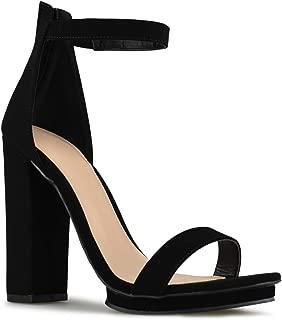 Premier Standard - Women's Strappy Chunky Block High Heel - Formal, Wedding, Party Simple Classic Platform Pump
