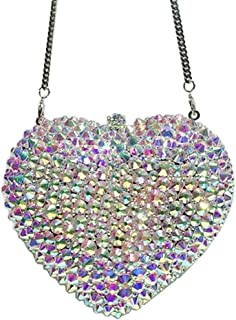 Bag for Women Fashion Women's Heart-Shaped Luxury Rhinestone Color Glossy Banquet Party Evening Bag Wedding Bridal Gift Dress Clutches Bags Metal Chain Shoulder Handbag Wallet (Color : Silver)