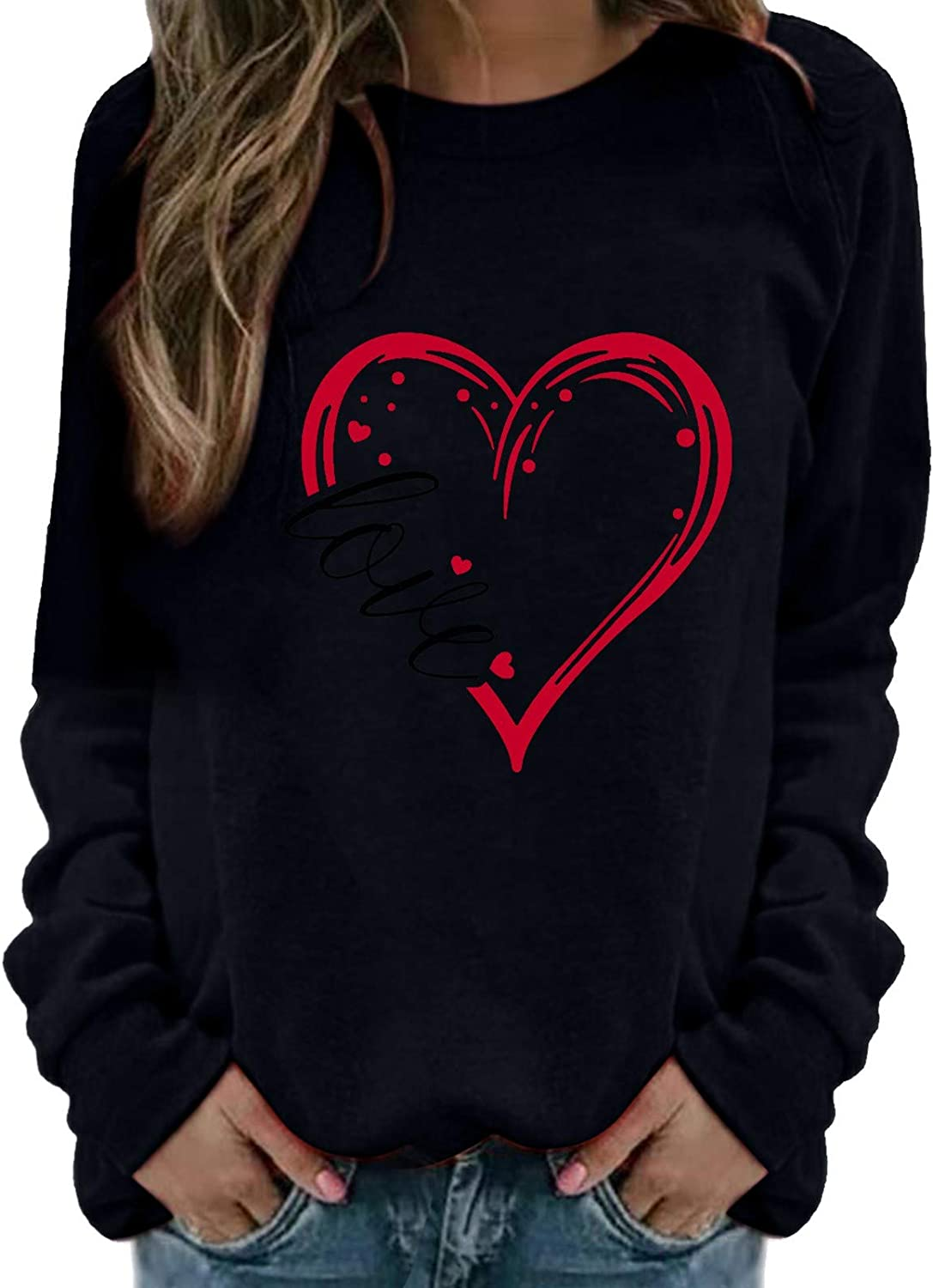 Oversized Sweatshirt for Women, Tupenty Women's Pullover Valentines Day Heart Print Crewneck Casual Long Sleeve Shirts